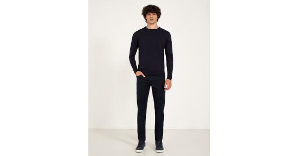 Pantaloni cinque tasche con dettagli a contrasto