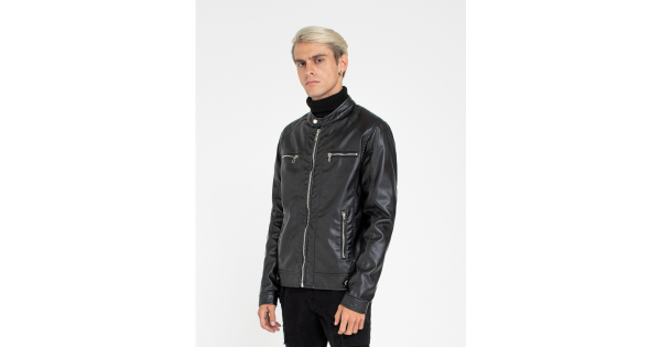 Faux-leather mandarin collar jacket