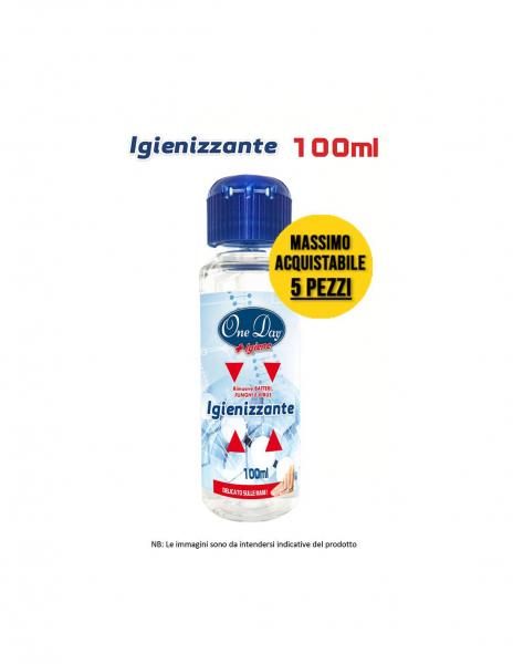 Gel Igienizzante Mani One Day + Igiene. Gel Alcolico Sanificante contro germi e batteri. Formato tascabile da 100 ml