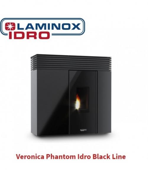 Termostufa A Pellet Laminox Veronica Phantom Idro Black Line 16 Kw Colore Nero Lucido CON ASPIRACENERE FUOCOVIVO OMAGGIO