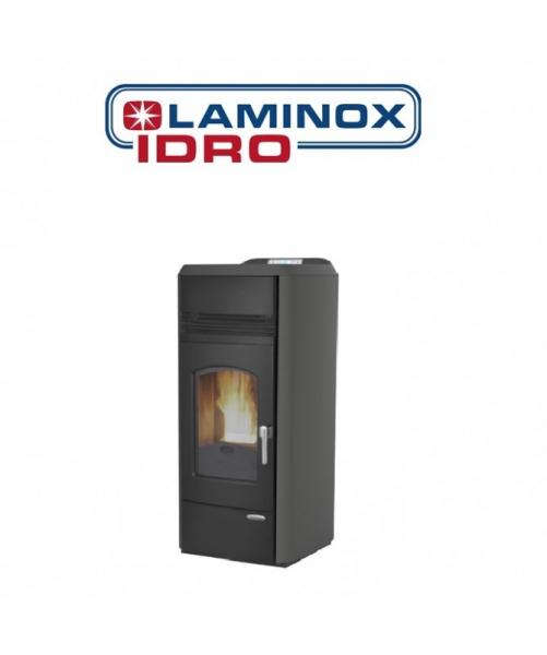 Termostufa A Pellet Laminox Idroventilata Tina Lux 20 Kw Colore Antracite Versione Black Line CON ASPIRACENERE FUOCOVIVO OMAGGIO