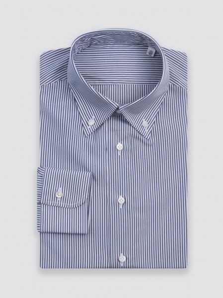 Camicia sartoriale fatta a mano blu navy a righe in Popeline, cotone egiziano