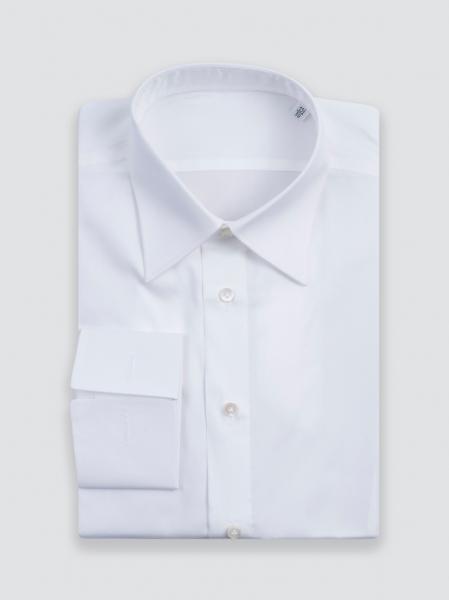 Camicia sartoriale fatta a mano bianca in Popeline, cotone egiziano