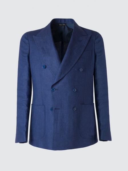 Giacca sartoriale doppiopetto in lino irlandese color blu