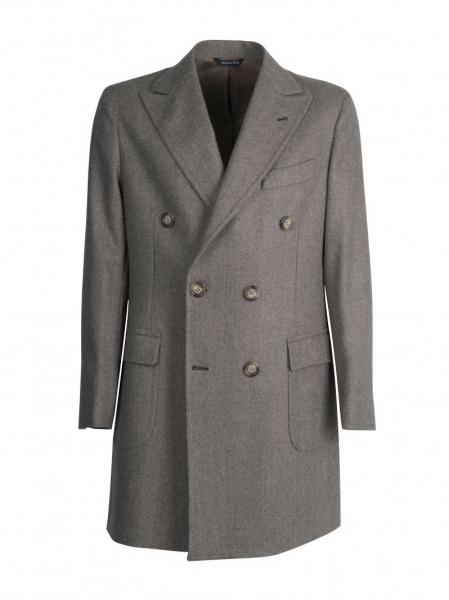 Cappotto sartoriale doppio petto lana cashmere, color marrone chiaro