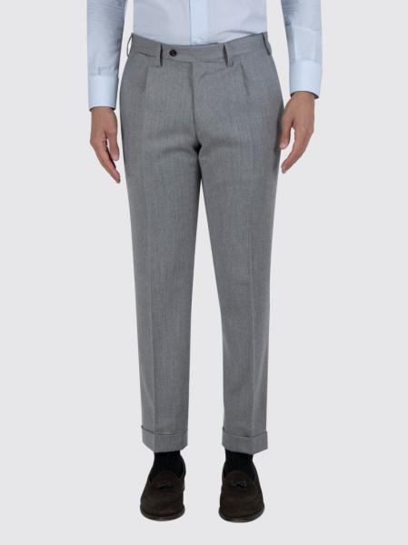 Pantalone Contemporary in flanella di lana cashmere grigio Chiaro taglia 48