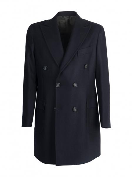 Cappotto sartoriale doppio petto lana cashmere, color blu scuro