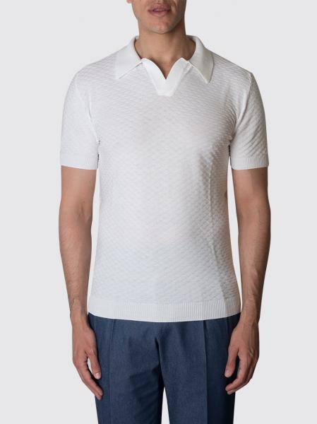 Polo bianca in filo di cotone con tramatura Slim-fit