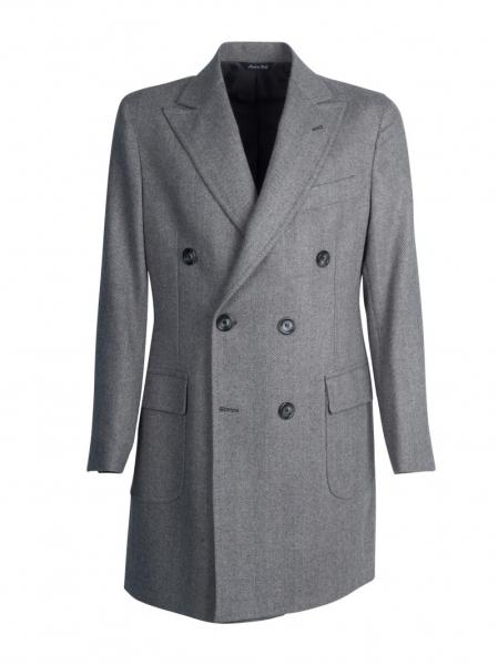 Cappotto sartoriale doppio petto lana cashmere, color grigio