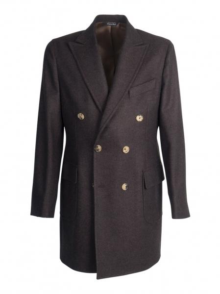 Cappotto sartoriale doppio petto lana cashmere, colore marrone scuro