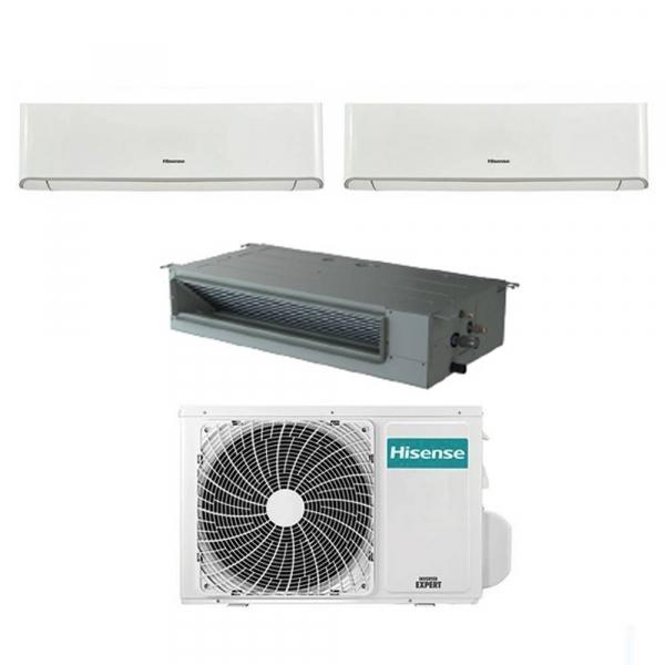 Condizionatore Hisense Energy e canalizzato trial split con inverter e Wifi da 9000+12000+18000 Btu R32 A++ 4AMW81U4RAA