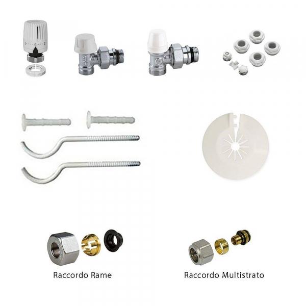 Kit installazione radiatori valvola termostatizzabile con detentore e testa termostatica da 3/8 a squadra Caleffi