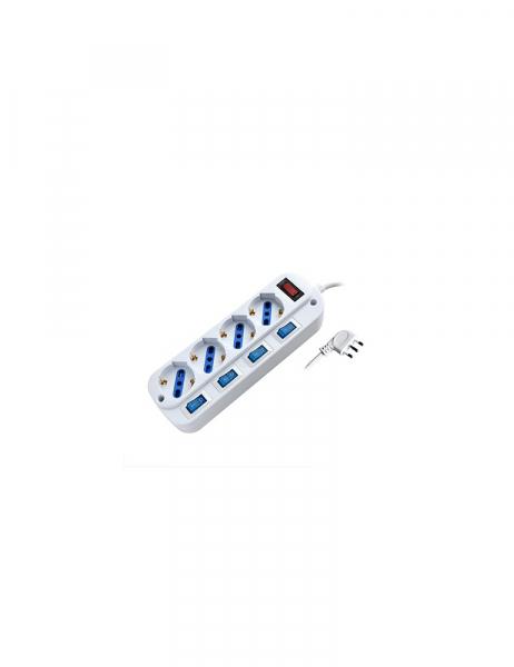 Power Strip 4 Places Bypass Schuko 16A Plug Autonomous Multiple Switches en
