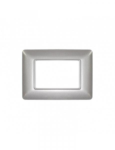 Placca argentata 3 Moduli 3M compatibile BTICINO MATIX in