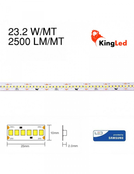 Striscia Led 130W 14500lm 24V IP20 PCB 10mm Bobina da 1200