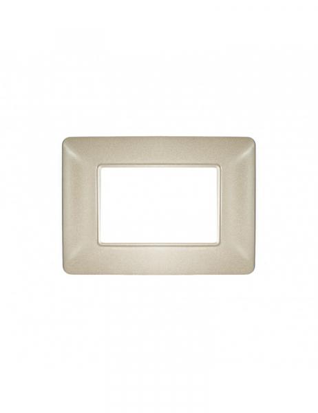 Placca 3 Moduli 3M color sabbia compatibile BTICINO MATIX