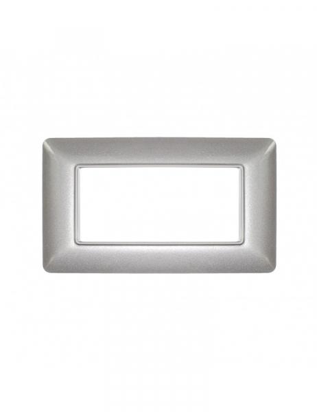 Placca 4 Moduli 4M Argento compatibile BTICINO MATIX in