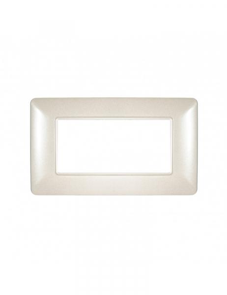 Placca 4 Moduli 4M Bianco madreperlato compatibile BTICINO