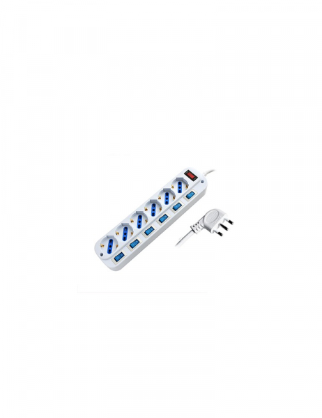 Power Strip 6 Places Bypass Schuko 16A Plug with Multiple Switches – Cable 1,5m