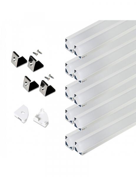 Profilo in Alluminio Angolare Modello 007 – Bianco – Set 10