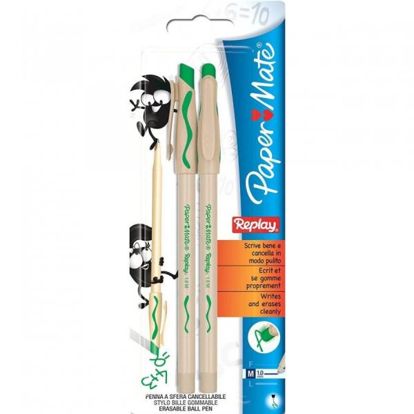 Penne Replay Verde 2 pezzi Paper Mate