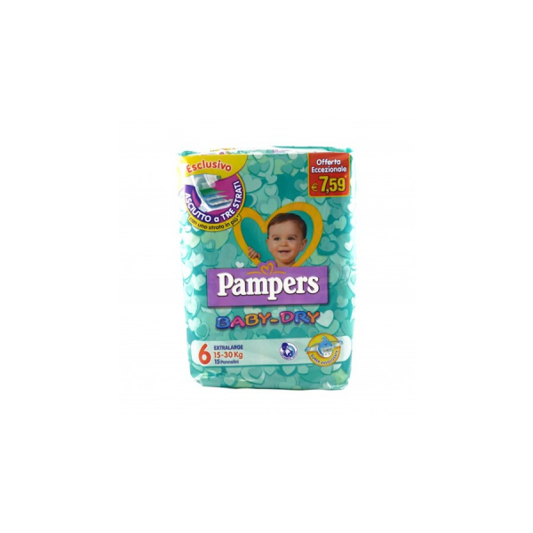 Pampers Baby Dry Extralarge N.6 15-30 kg 15 pezzi