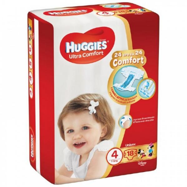 Huggies Ultra Comfort Unisex N.4 7-18 Kg 18 pezzi