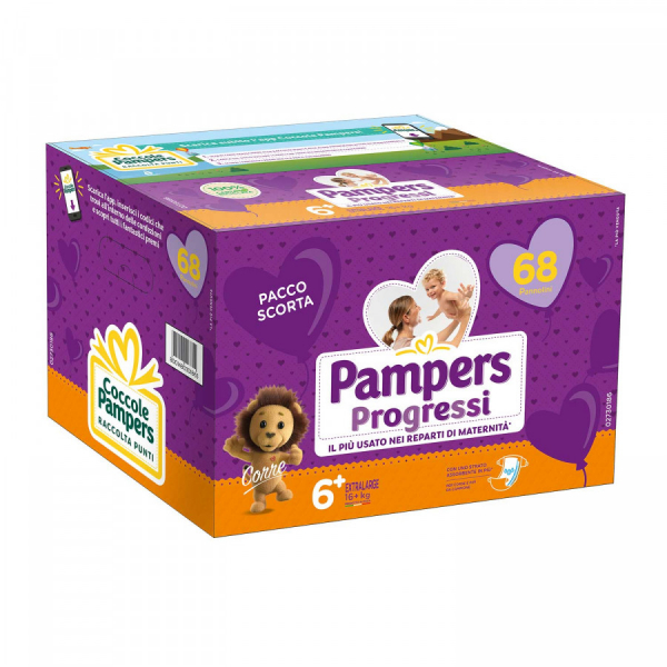 Pampers Progressi Pannolini Extralarge N.6 16 kg Quadripack 68 pezzi
