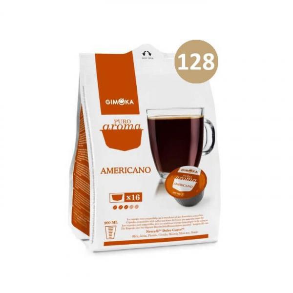 128 capsule (8 da 16) PURO AROMA CAFFE' AMERICANO GIMOKA compatibile Nescafè Dolce Gusto