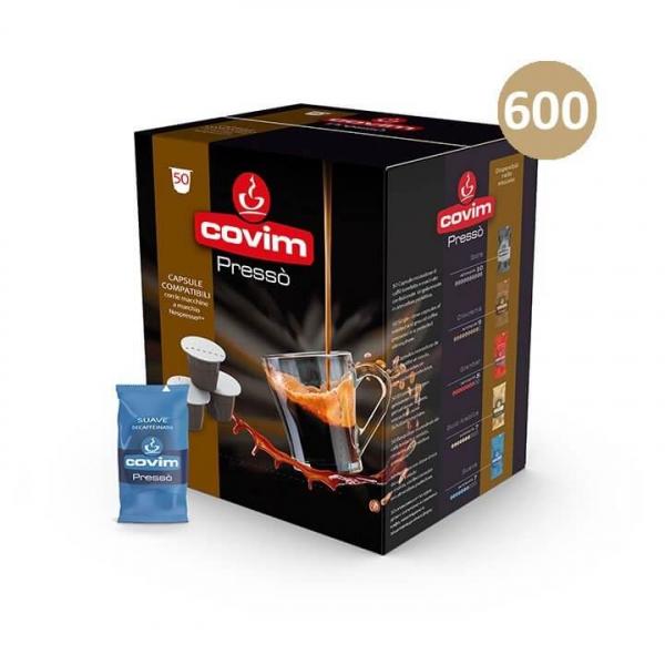 600 (12×50) CAPSULE CAFFE' ESPRESSO PRESSO' SUAVE DECAFFEINATO COVIM – compatibile Nespresso
