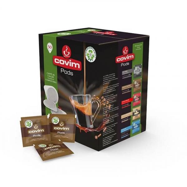 50 CIALDE CAFFE' ESE 44 PODS OROCREMA COVIM  – COMPOSTABILI – cialda filtrocarta ese 44