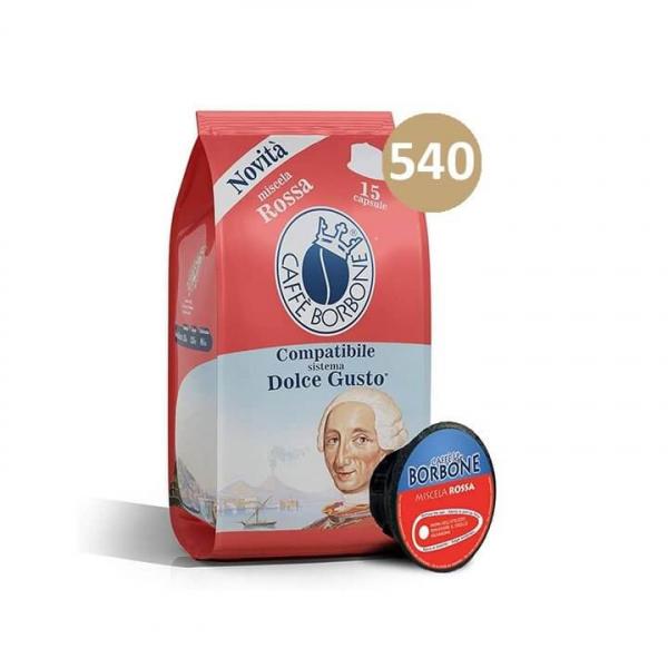 540 (6 da 90) CAPSULE CAFFE' BORBONE DOLCE GUSTO ROSSA – compatibile Nescafè Dolce Gusto