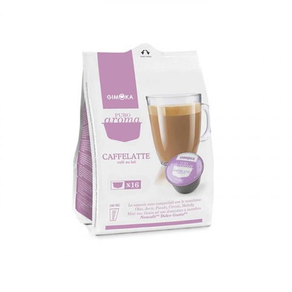 16 capsule PURO AROMA CAFFELATTE GIMOKA compatibile Nescafè Dolce Gusto