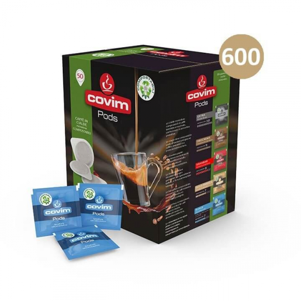 600 (12×50) CIALDE CAFFE' ESE 44 PODS SUAVE DECAFFEINATO COVIM – COMPOSTABILI – cialda filtrocarta ese 44