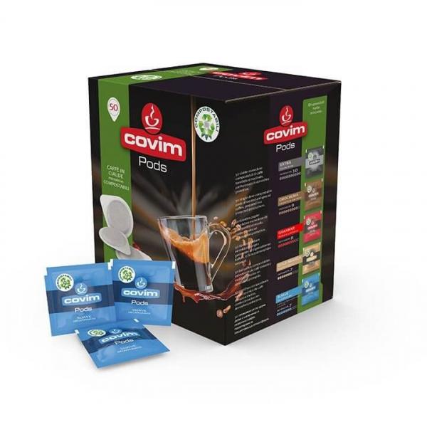 50 CIALDE CAFFE' ESE 44 PODS SUAVE DECAFFEINATO COVIM – COMPOSTABILI – cialda filtrocarta ese 44