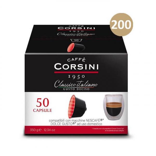 200 (4×50) CAPSULE CAFFE' CLASSICO ITALIANO GUSTO DECISO CORSINI – compatibili Nescafè Dolce Gusto
