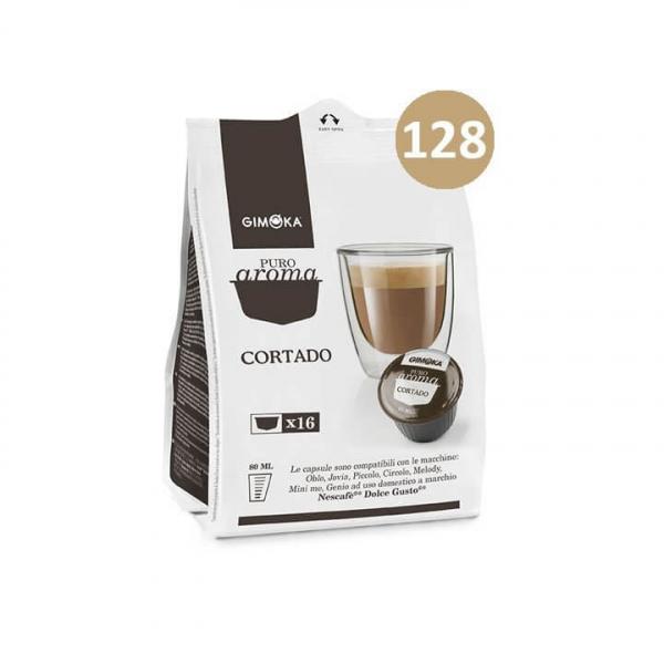 128 capsule (8 da 16) PURO AROMA ESPRESSO CORTADO GIMOKA compatibile Nescafè Dolce Gusto