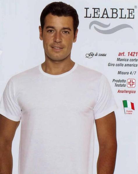 T-shirt uomo in cotone mercerizzato girocollo leable 1421 tg.4/7 bianco Leable