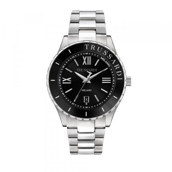 Trussardi T-logo 43mm 3h black dial br ss