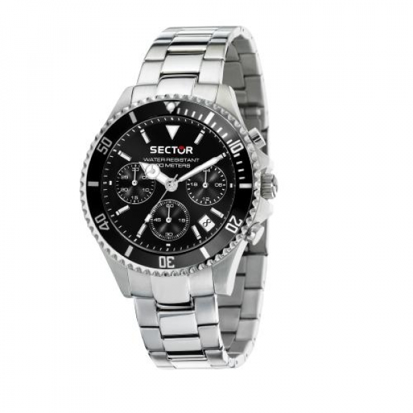 Sector 230 43mm chr black dial br ss