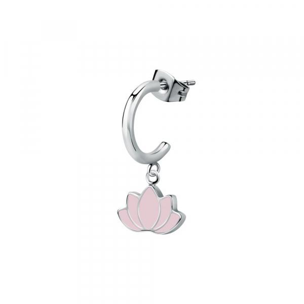 La Petite Story Hoop earring ss+enameled lotus