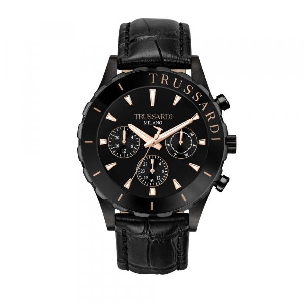 Trussardi T-logo 45mm mult black dial black st