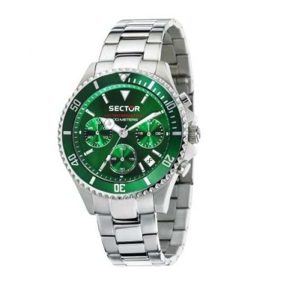 Sector 230 43mm chr green dial br ss