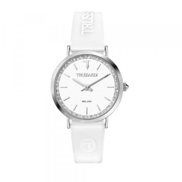 Trussardi T-motif 33mm 2h white dial white sil st