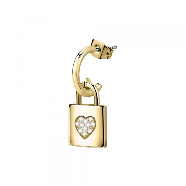 La Petite Story Clicker ear.padlock yg+heart crys
