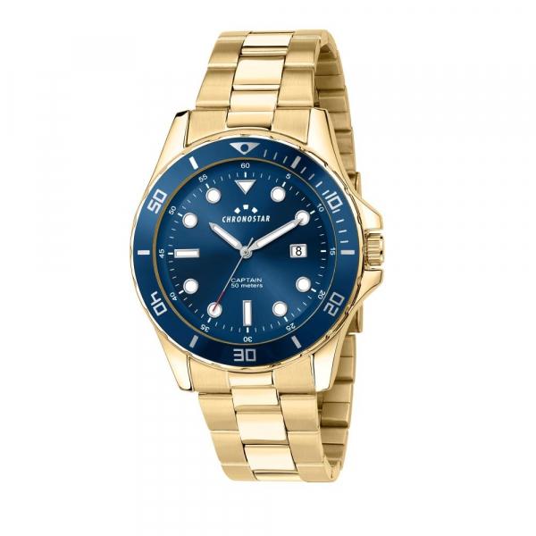 Chronostar Captain 43mm 3h blue dial br yg
