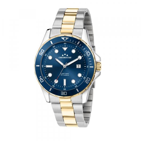 Chronostar Captain 43mm 3h blue dial br yg+ss
