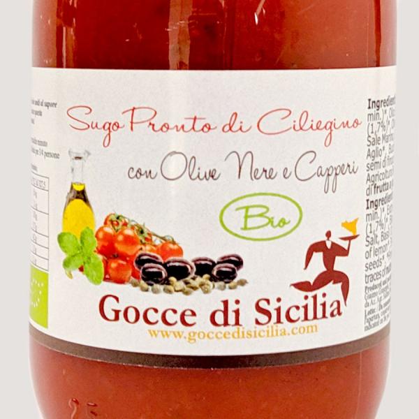Sugo BIO Olive Nere e Capperi di Pomodoro Ciliegino – 250 gr