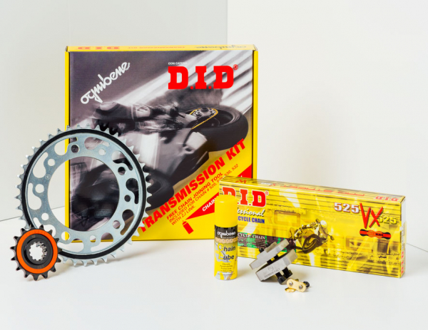 Kit trasmissione DID per Ducati Hypermotard 796 (Catena DID 525-ZVMX 106 maglie – Pignone 15 – Corona 43 – Passo 525) modifica corona +2