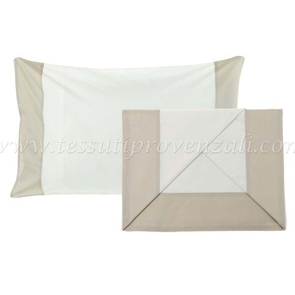 Blanc Mariclo' completo lenzuola matrimoniale con bordo raso beige